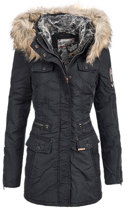 khujo damen wintermantel winterjacke winter parka mantel jacke kapuze warm megg ebay. Black Bedroom Furniture Sets. Home Design Ideas