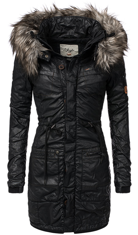 khujo julita beschichteter damen winter baumwoll parka coated mantel jacke s xxl. Black Bedroom Furniture Sets. Home Design Ideas