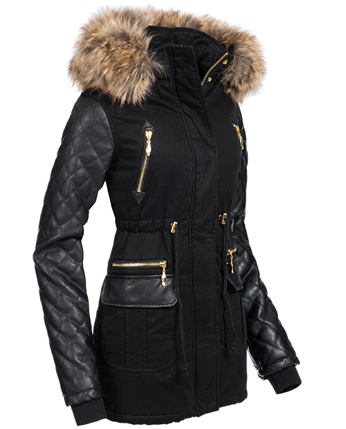 navahoo damen winterjacke wintermantel jacke mantel parka kunst leder rmel sara. Black Bedroom Furniture Sets. Home Design Ideas